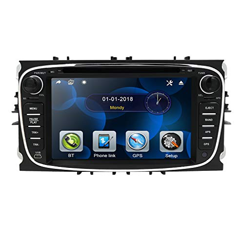 hizpo 7 Zoll Doppel-Din Autoradio DVD Player Suport GPS Navigation Lenkradsteuerung Bluetooth SD USB DAB + für Ford Focus Mondeo Galaxy S-Max