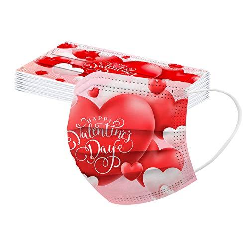 YYQX 10 Stück Erwachsene Einweg_3 Lagige Schutz_ Valentinstag Herzdruck_𝐌aske_ Staubdicht Atmungsaktive