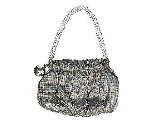 shoperama Schillernde 70er Jahre Damen Handtasche mit Disco-Kugel Anhänger und Magnetverschluss Festival Party Glamour