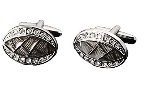Gudeke Metal Colored Diamond Cufflinks for Men Wedding Party Gifts Boutons de manchette en métal diamant coloré Cadeaux Hommes (Argent)