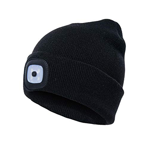 CALIDAKA LED Beanie Hat with Light,Unisex USB Rechargeable Hands Free LED Headlamp Cap Winter Knitted Night Lighted Hat Women Men Gifts for Dad Him Husband