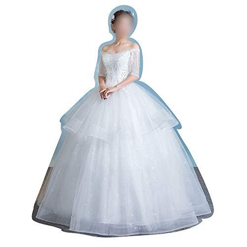 YUMUYMEY Brautkleider Weiße Brautkleider mit Spitzenärmeln (Size : L)