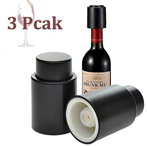 Johiux Weinflaschenverschluss, Weinkonservierer Vakuum, Wiederverwendbar Weinverschluss Wein Pumpe Halten Frisch Wine Saver Sealer. (Black, 3)