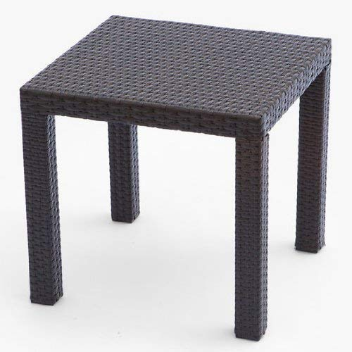 RST Brands OP-PEST2020 Side Table in Espresso Rattan Patio Furniture, 20-Inch by 20-Inch