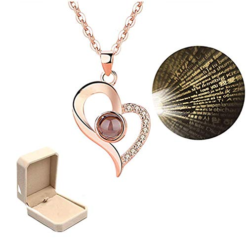 AMAZYJ Chic I Love You Heart Necklace Memory 100 Languages to Express I Love You Pandent Necklace Christmas Surprise Gift for Her (Rose Gold)