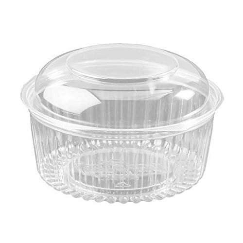 Dart C48BCD, 48-Ounce PresentaBowls Clear Plastic Bowl with Clear Dome Lid, Serving/Catering Take Out Salad Deli Bowls, Carry Out Food Containers (50)