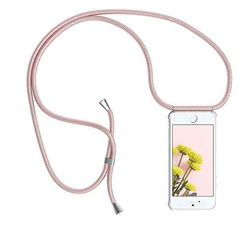 YuhooTech Handykette Kompatibel mit iPhone 6 / 6S, Smartphone Necklace Hülle mit Band - Handyhülle mit Kordel Umhängenband - Schnur mit Case zum umhängen in Rose Gold