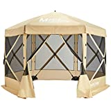 MASTERCANOPY Escape Shelter, 6-Sided Canopy Portable Pop up Canopy Durable Screen Tent Bug and Rain Protection (6-8 Person),Beige