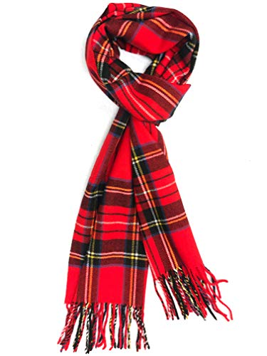 Calvia Cashmere Feel Scarf - Super Soft & Warm for Winter - Elegant Looks for Women & Men (Amazon Christmas Red Tartan)