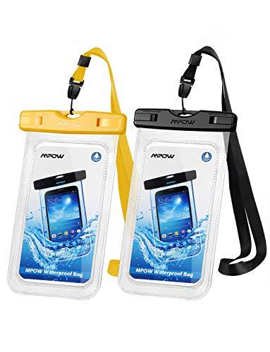 Mpow Wasserdichte Handyhülle Waterproof Phone Hülle 6, 8 Zoll (2 Stück) Handy Wasserschutzhülle DOPPELT VERSIEGELT für Schwimmen, Baden & Kochen, iPhone 11/iPhone SE/iPhone 8/Galaxy S20/S10/S9