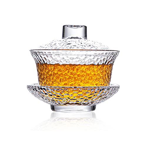 Gaiwan cristal de cristal, 150 ml espesar resistente al calor chino Sancai Wan juego de té con tapa y platillo