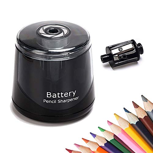 Electric Pencil Sharpener Automatic Fast Sharpen Portable Battery Operated Pencil Sharpener Colored Pencils No.2 Pencils Charcoal Pencils Sharpener Essential School Supplies for Classroom Office Home