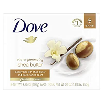 Dove Beauty Bar for Softer Skin Shea Butter More Moisturizing Than Bar Soap 3.75 oz 8 Bars