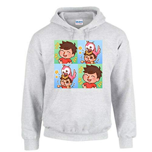 TAQ-SPORTS AlbertsStuff Flamingo Funny and Novelty Design Hooded Hoddie for Kids and Adult (Kids 12-14 yrs/XS, Grey)