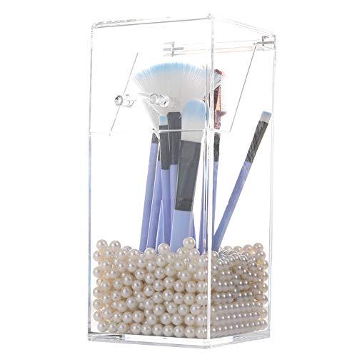 Sooyee Acryl-Make-up-Pinselhalter mit Deckel, staubdichte Kosmetikpinselaufbewahrung mit 8 mm weißen Perlen für Badezimmer, Kommode, Waschtisch und Arbeitsplatte, transparent