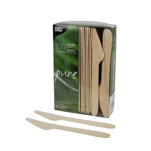 """Papstar Holzmesser / Einwegmesser """"pure"""" (100 Stück) Länge 16.5 cm aus natürlich hellem Birkenholz ungebleicht, für Grillfeste oder Geburtstage, biologisch abbaubar, #18200"""