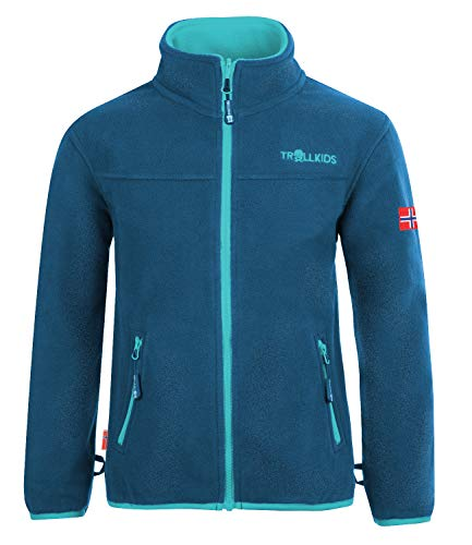 Trollkids Mädchen Oppdal XT Fleece Jacke, Mitternachtsblau / Minze dunkel, Größe 128