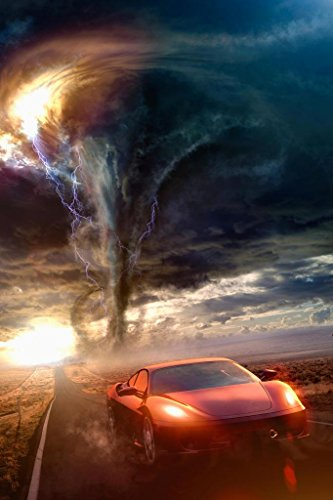 Red Sports Car Driving Away from Tornado Photo Photograph Cool Wall Decor Art Print Poster 24x36