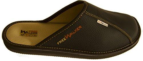 FreeWalker ® | Herren Hausschuhe Leder (43, Braun, Leder)