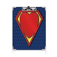 印刷者 クリップボード 用箋挟 クロス貼 A4 短辺とじ スーパーヒーロー ファイルボード (2個)ハート図ヴァランティーヌロマンスプリントと私のスーパーマンシールドロゴナイトブルーレッドイエロー