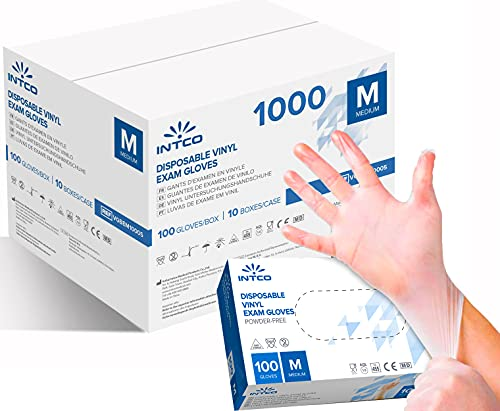1000 Guanti in Vinile monouso senza polvere, senza lattice, ipoallergenici, certificati CE trasparenti conforme alla norma EN455 e EN374 R MOVE (Taglia M 1000 guanti)