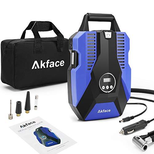 Akface Compresseur Voiture Portable,Gonfleur Pneus Voiture, Compresseur d'air 12v avec Affichage Numérique Jusqu'à 150PSI,Arrêt Automatique à la Pression Prédéfinie Contrôle de Pression Précis.Bleu