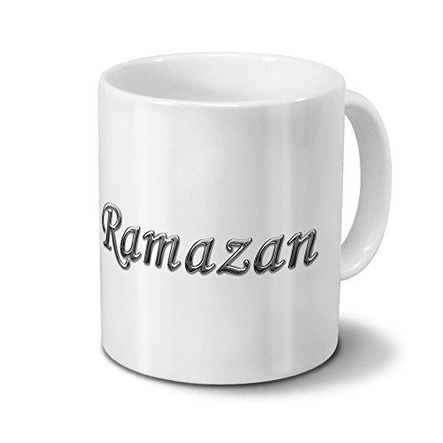printplanet Tasse mit Namen Ramazan - Motiv Chrom-Schriftzug - Namenstasse, Kaffeebecher, Mug, Becher, Kaffeetasse - Farbe Weiß