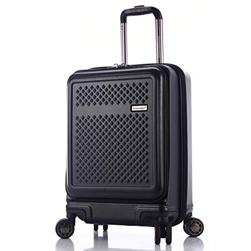 AMBASSADOR LUGGAGE Hardshell Premium Lightweight carry on 20'' Luggage with Laptop compartment with TSA lock (BLACK)