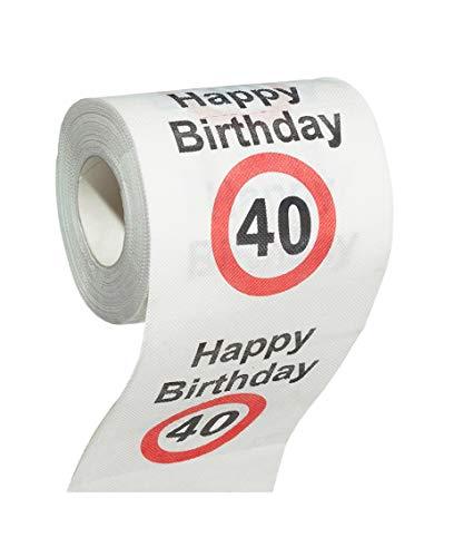 MIK funshopping Scherzartikel Deko Spaß-Toilettenpapier Runder Geburtstag lustiges Geschenk (40. Geburtstag)