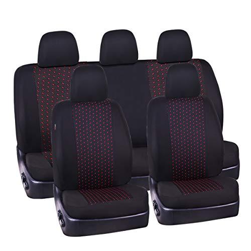 Car Pass 11pcs Supreme Automóvil Juego Fundas De Asiento Package-Universal Fit para vehículos, Coches, SUV, Negro y Gris con Compuesto de 5 mm Esponja Interior, Compatible con airbag