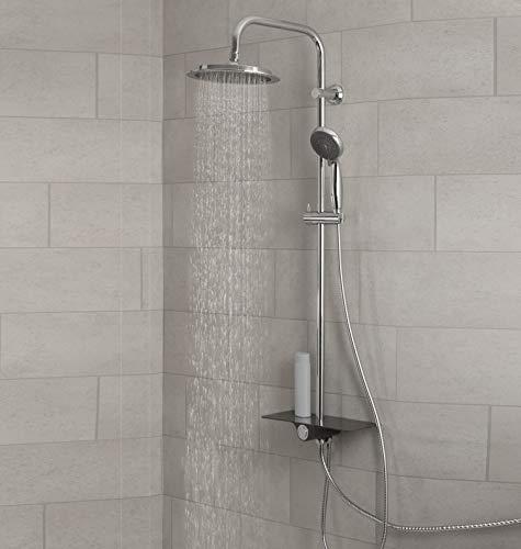 SCHÜTTE AQUASTAR Duschset Regendusche mit Ablage, Duschsystem mit 5-fach verstellbarer Handbrause, Duschsäule mit Duschkopf, Duschset in Chrom/Schwarz