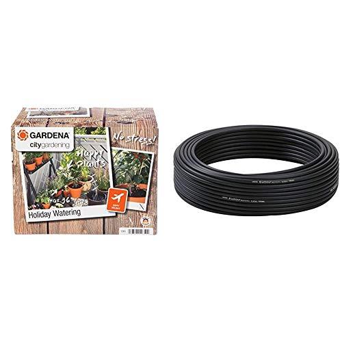 Gardena City Gardening Urlaubsbewässerung: Pflanzenbewässerungs-Set für drinnen und draußen & Micro-Drip-System Verteilerrohr: Flexibles Zuleitungsrohr, 4.6 mm (3/16