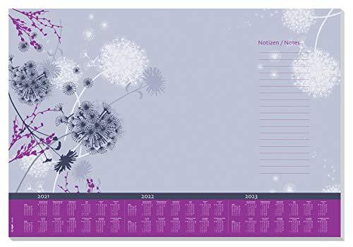 Sigel HO400 Vade, bloc de notas, diseño flores violetas, calendarios trianuales, A2 (59,5 x 41 cm), violeta y morado, 30 hojas (SY506)