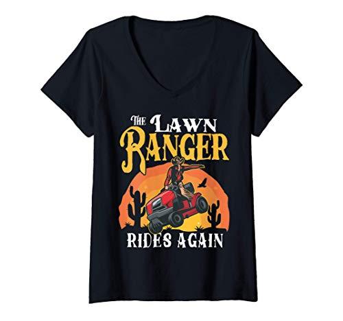 Mujer The Lawn Ranger Rides Again Divertido Tractor de césped Camiseta Cuello V