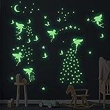 KAMEUN Luminoso Pegatinas de Pared Luna Estrellas Puntos Pegatinas de Pared para Niños Infantil Fluorescente Adhesivos Decoración para Dormitorio Bebé Guardería(6pack)