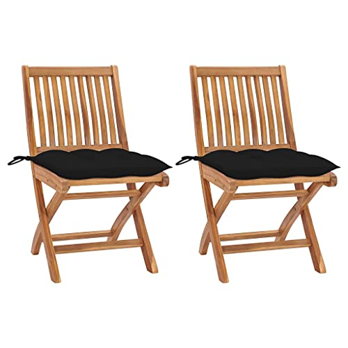 vidaXL - 2 sillas de jardín de madera maciza de teca con cojines para asientos de patio, sillas de terraza, sillas de exterior, asientos de balcón, color negro