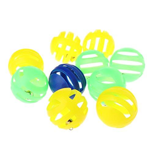 Vlcoo 10 stuks/set speelgoed voor huisdieren, kunststof, met klein speelgoed, bal met 3,5 cm diameter voor klokken voor katten