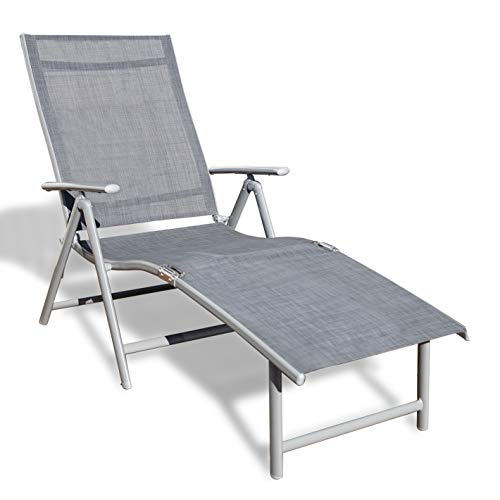 Kozyard Cozy Aluminum Beach Yard Pool Folding Reclining 7 Adjustable Chaise Lounge Chair (1 Pack, Gray)