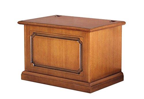 Arteferretto Mobile Porta Pellet, Cassapanca Apertura a ribalta, Legno Tinta ciliegio patinato, Contenitore per Pellet, Stile Classico, L75xP48xH51 cm