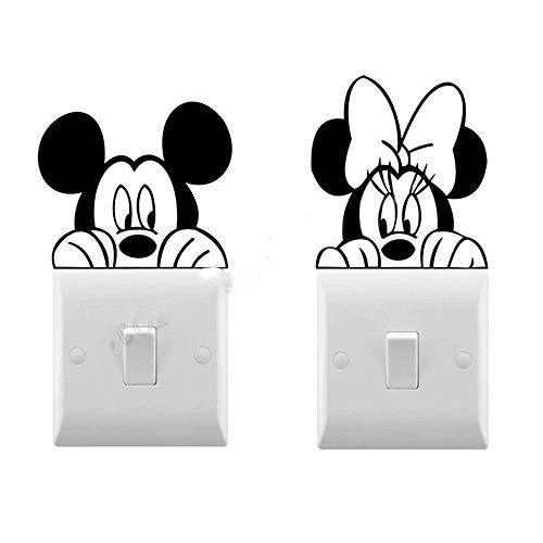 pegatinas de pared 3d infantil Minnie Mouse Mickey Mouse Interruptor de luz Decoración de dibujos animados Niños Calcomanías para bebés