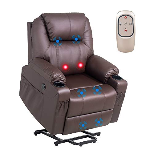YOURLITE Electric Power Lift Recliner Chair Wireless Remote Control Massage Sofa for Senior Elderly, Heated Vibration Massage Sofa with USB Port Faux Leather for Living Room/Bedroom/Media Room (Brown)
