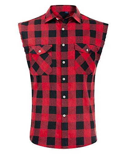 Alimens & Gentle Men's Sleeveless Flannel Plaid Shirts Vest Casual Button Down Shirt