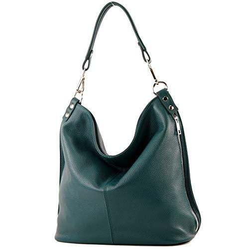 modamoda de - T177 - ital. Damen Schultertasche aus Leder, Farbe:Petrol