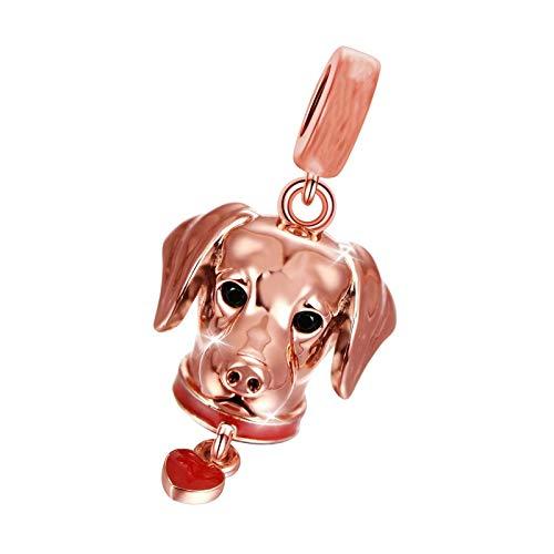 Colgante Labrador de plata de ley 18k oro rosa animal colgante