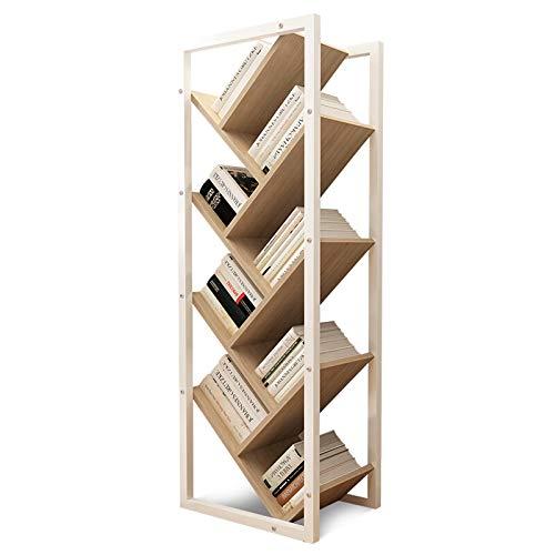 Librero Estantería en Forma de árbol de Piso a Techo librero Simple de Acero-Madera Ocho Capas Almacenamiento de Ocho Capas h 44.9'× l 15.7' × D 9.4'Color de Nogal Ligero Estante para Libros