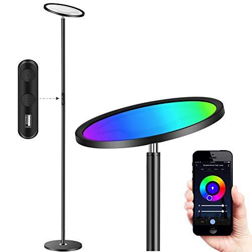 Torkase Smart Stehlampe LED Stehleuchte Kompatibel mit Alexa und Google Home - 25W 2000lm RGB Farbe ändern Deckenfluter WiFi Dimmbar Nach oben und Unten Leselampe für Wohnzimmer Schlafzimmer Büro