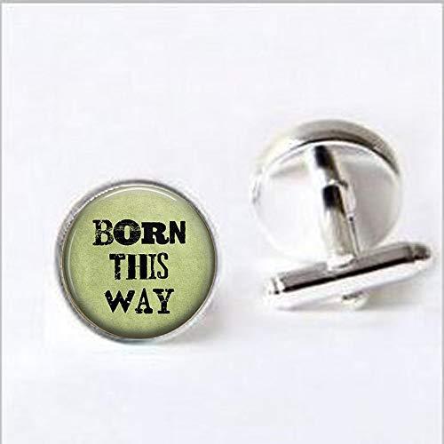 bab Born This Way Ohrringe – Rainbow Pride – Gay Pride – Transgender-Schmuck – LGBT-Bewusstsein – Manschettenknöpfe – Bibelzitat Anhänger – Religiöse Manschettenknöpfe