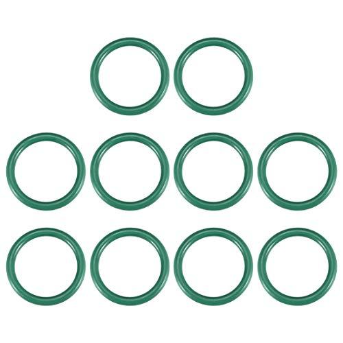 Juntas tóricas de goma fluorada YeVhear, 26 mm OD 19 mm ID 3,5 mm de ancho, junta de sellado FKM para fontanería de máquinas, color verde, 10 unidades