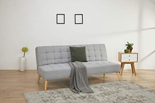 Amazon Basics - Sofá cama de tres plazas, 180 x 86 x 81, azul medianoche
