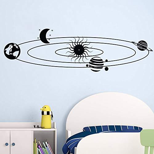 Stickers muraux système solaire pour chambre d'enfant, étoiles, univers, planètes, espace, décoration, terre, soleil, Saturne, mars, lune, décalcomanies98X57 CM